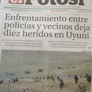Titelstory in der Tageszeitung von Potosi.