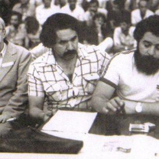 Sergio Buarque mit Lula da Silva und Olivio Dutra anlässlich des Nationaltreffens der Arbeiterpartei (PT) am 10.2.1980